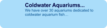 Coldwater Aquariums... We have over 30 aquariums dedicated to coldwater aquarium fish…
